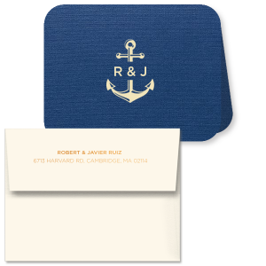 The ever-popular Linen Navy Classic Note Card with Envelope has an Anchor Frame graphic and is good for use in Travel and Beach/Nautical themed parties and will give your party the personalized touch every host desires.