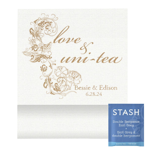 Our beautiful custom Linen White Tea Favor with Shiny 18 Kt Gold Foil has a Floral Silhouette graphic and is good for use in Floral and elegant themed parties and will give your party the personalized touch every host desires.