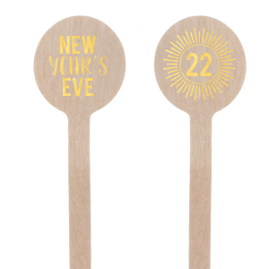 ForYourParty's personalized Shiny 18 Kt Gold Round Stir Stick with Shiny 18 Kt Gold Foil has a sunburst frame 1 graphic and is good for use in Celebration themed parties and are a must-have for your next event—whatever the celebration!