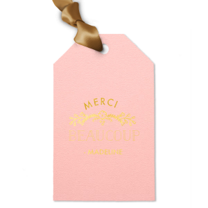 Personalized Poptone Ballet Pink Luggage Gift Tag with Shiny 18 Kt Gold Foil Color has a Marigold Vine graphic and is good for use in Accents themed parties and will look fabulous with your unique touch. Your guests will agree!