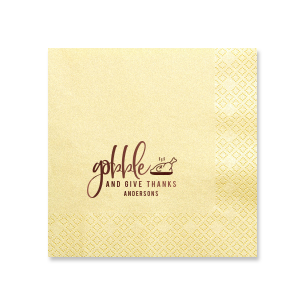 Our custom Super Gold Shimmer Cocktail Napkin with Shiny Merlot Foil has a Plated Turkey graphic and is good for use in Food, Thanksgiving themed parties and will impress guests like no other. Make this party unforgettable.