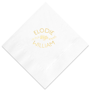 Personalize this White napkin with Shiny 18Kt Gold as a delicate floral statement for your bridal shower, engagement party or wedding. Our English Rose Garden graphic gives just the right touch to accent your names!