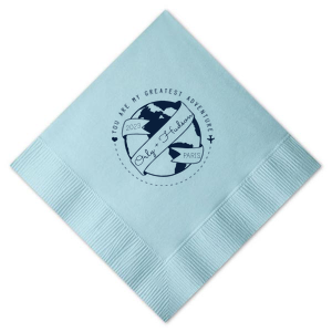 ForYourParty's chic RECYCLED Sky Blue Cocktail Napkin with Matte Navy Foil has a World Badge graphic and is good for use in Wedding, Baby Shower, Travel themed parties and will impress guests like no other. Make this party unforgettable.
