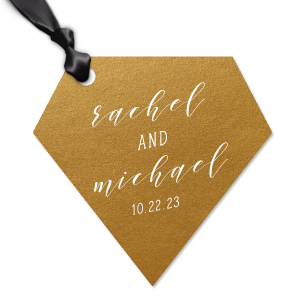 Personalized Metallic 18 Karat Gloss Gold Diamond Jewel Gift Tag with Matte White Foil can't be beat. Showcase your style in every detail of your party's theme!