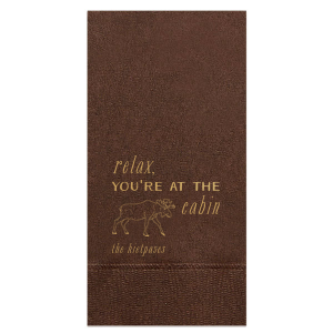The ever-popular Espresso Brown Guest Towel with Satin 18 Kt. Gold Foil has a Moose graphic and is good for use in Animals, Travel, Southwestern, Woods themed parties and couldn't be more perfect. It's time to show off your impeccable taste.