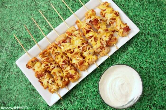 Loaded Tater Tot Skewers by Made with HAPPY