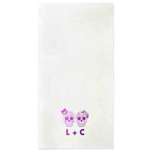 The ever-popular Kiwi Luncheon Napkin with Shiny Turquoise Foil has a Sugar Skulls graphic and is good for use in Halloween themed parties and can be personalized to match your party's exact theme and tempo.
