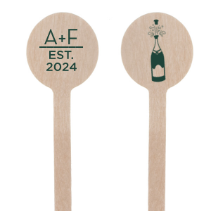 ForYourParty's chic Matte Spruce Rectangle Stir Stick with Matte Spruce Foil Color has a Champagne Bottle graphic and is good for use in Drinks, Wedding themed parties and couldn't be more perfect. It's time to show off your impeccable taste.
