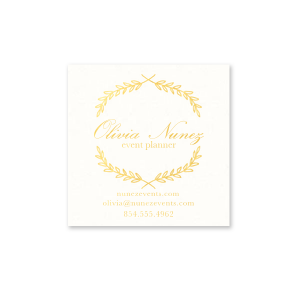 Our beautiful custom Strathmore White Square Business/Calling Card with Shiny 18 Kt Gold Foil has a Branch Frame graphic and is good to use in nature, floral or Wedding inspired needs and will give you the personalized touch everyone desires.