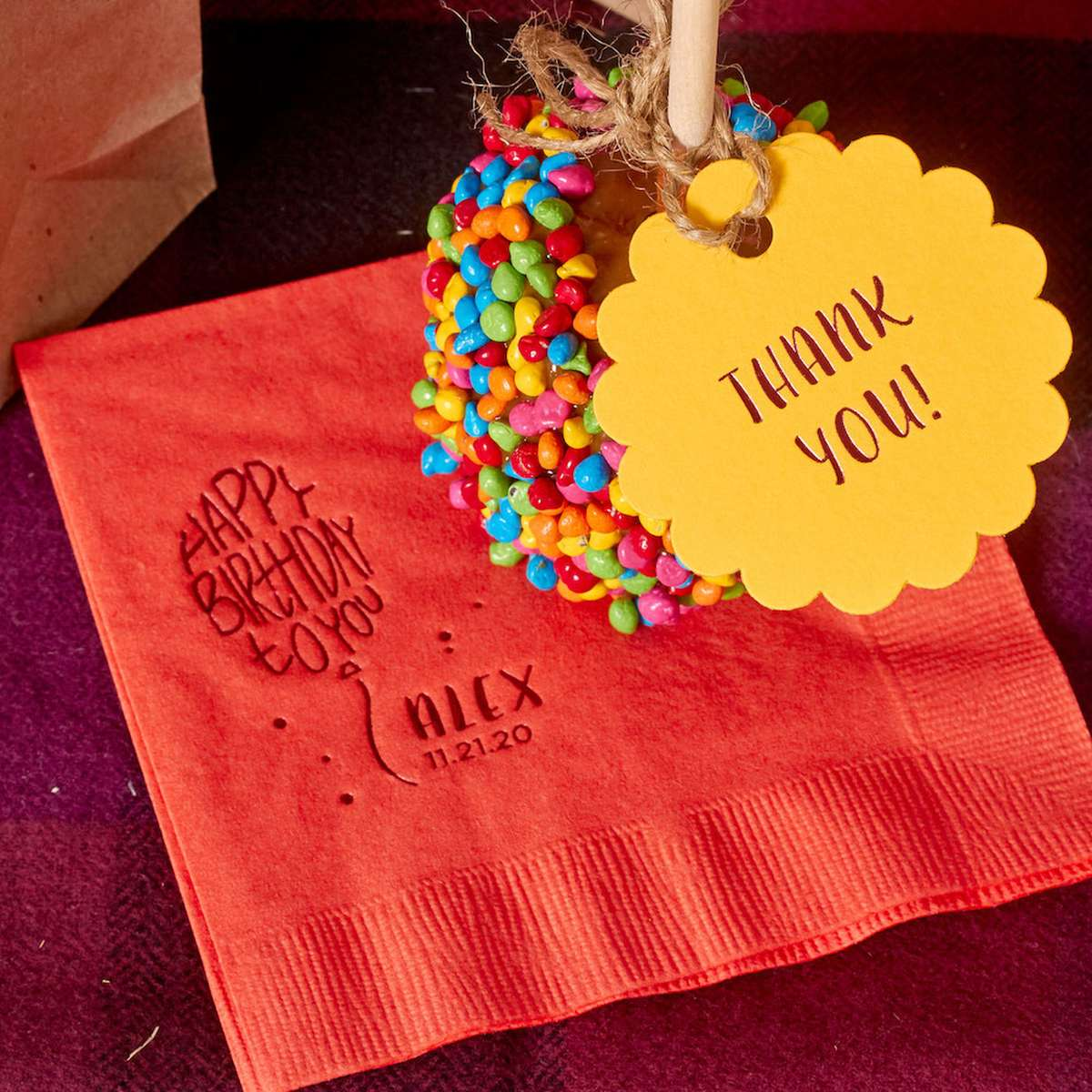 personalized napkin with cute custom gift tags for personalized party favors