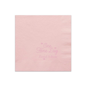 Our custom Ballet Pink Cocktail Napkin with Satin Fuchsia Foil can be personalized to match your party's exact theme and tempo.