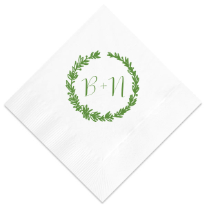 Woodland Wreath Initials Napkin