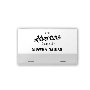 Custom Crystal White Shimmer 30 Strike Matchbook with Matte Black Foil Color has a The Adventure Begins graphic and is good for use in Wedding themed parties and can be customized to complement every last detail of your party.
