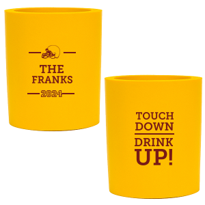 Our custom Yellow Round Can Cooler with Matte Merlot Ink Cup Ink Colors has a Helmet graphic and is good for use in Sports themed parties and are a must-have for your next event—whatever the celebration!