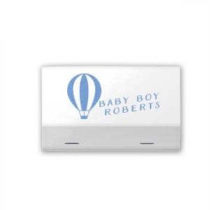 Custom Linen Navy Blue Barrel Matchbox with Shiny Sky Blue Foil has a Hot Air Balloon 2 graphic and is good for use in Travel, Baby Shower themed parties and will add that special attention to detail that cannot be overlooked.