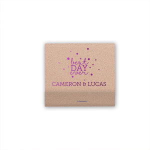 For Your Party's elegant Rose Gold Shimmer 30 Strike Matchbook with Shiny Amethyst Foil Color has a Best Day Ever graphic and is good for use in Wedding themed parties and will impress guests like no other. Make this party unforgettable.