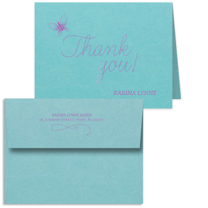 Personalized Poptone Tiffany Blue Classic Note Card with Envelope with Satin Plum Foil has an Artistic Butterfly graphic and is good for use for Birthdays and Bat Mitzvahs and can be personalized to match your party's exact theme and tempo.