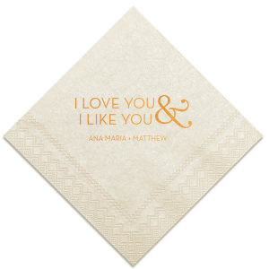 ForYourParty's personalized Ivory Guest Towel with Shiny Copper Foil will make your guests swoon. Personalize your party's theme today.