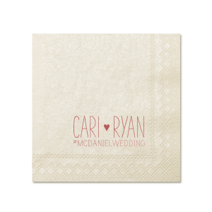The ever-popular Ivory Cocktail Napkin with Shiny Rose Quartz Foil can be personalized to match your party's exact theme and tempo.