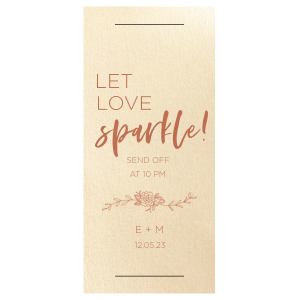 Let love sparkle with a wedding send off to remember! Supply sparklers wrapped in these custom sparkler sleeves. Add the time, your initials and wedding date for a personal touch. Our Peony graphic will be a darling accent to your greenery theme.