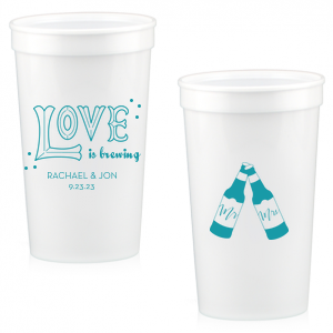 The ever-popular Teal 16 oz Stadium Cup with Matte White Ink Ink Color has a Love 2 graphic and a Mr & Mrs Bottles graphic and is good for use in Beer, Engagement and Wedding themed parties and will make your guests swoon. Personalize your party's theme today.