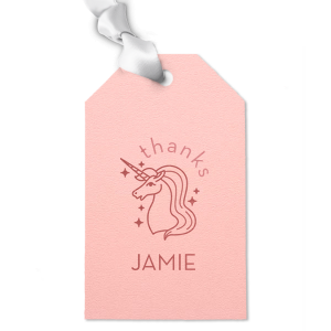Our beautiful custom Poptone Ballet Pink Heart Gift Tag with Shiny Rose Quartz Foil Color has a Unicorn 2 graphic and is good for use in Kid Birthday, Animal and Magical themed parties and will give your party the personalized touch every host desires.