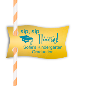 ForYourParty's elegant Neon Pink Wave Straw Tag with Satin Teal / Peacock Foil has a Cap graphic and is good for use in Graduation themed parties and are a must-have for your next event—whatever the celebration!