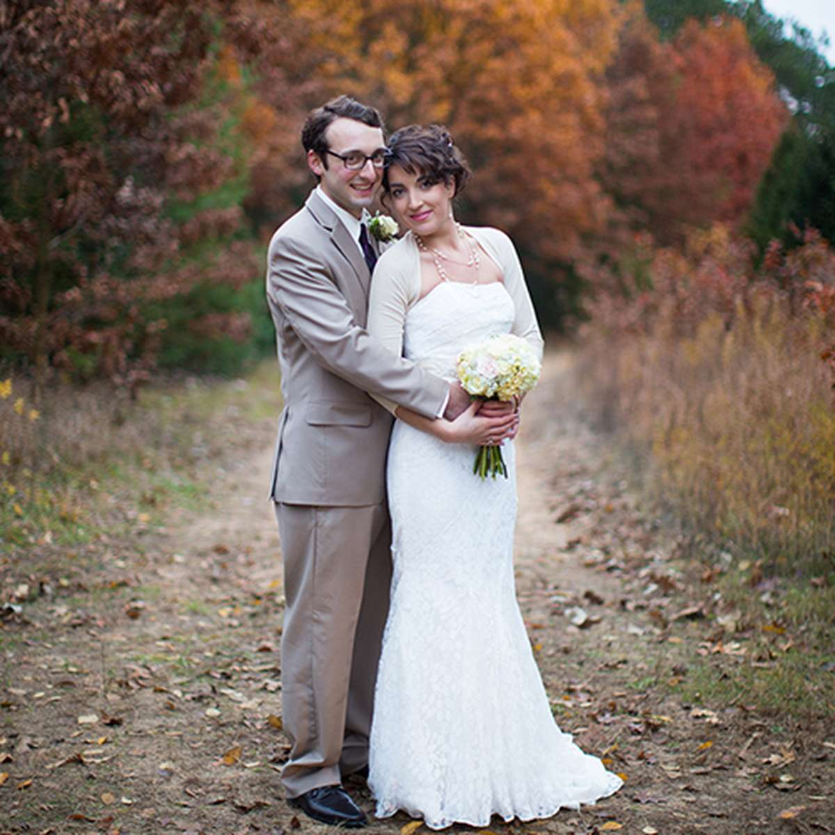 fall outdoor wedding with lace mermaid wedding dress