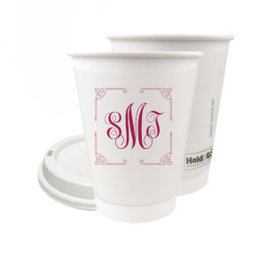 Our personalized 8 oz Paper Coffee Cup with Lid with Matte Dark Magenta Ink  has a Rococo Frame graphic and is good for use in Anniversary, Wedding, and Birthday themed parties and will add that special attention to detail that cannot be overlooked.