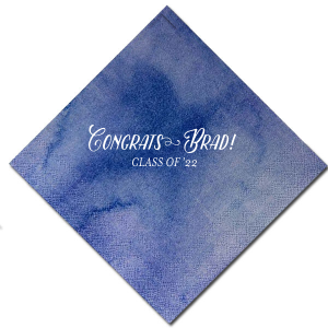 ForYourParty's personalized Watercolor Nightfall Cocktail Napkin with Matte White Foil will make your guests swoon. Personalize your party's theme today.