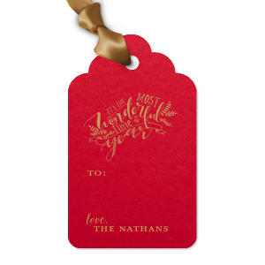 Our custom Poptone Convertible Red Luggage Gift Tag with Satin 18 Kt. Gold Foil has a The Most Wonderful Time graphic and is good for use in Christmas and Holiday themed parties and couldn't be more perfect. It's time to show off your impeccable taste.