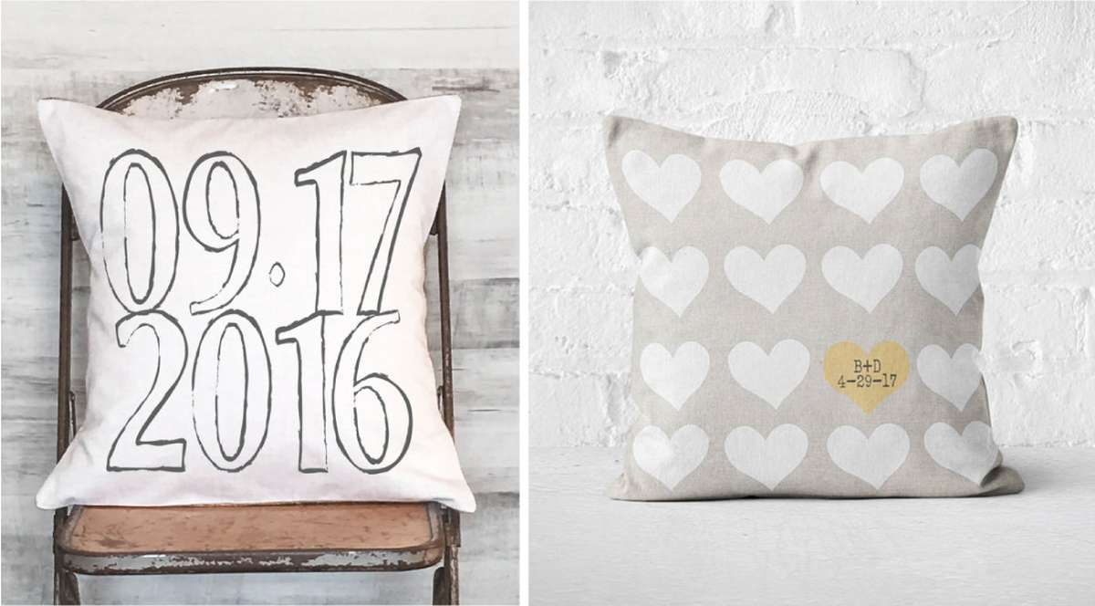 second anniversary cotton personalized pillow