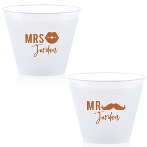 Our beautiful custom Copper Ink 9 oz Frost Flex Cup with Copper Ink Cup Ink Colors has a Lips Solid graphic and a Mustache 2 Solid graphic and is good for use in Birthday, Fashion, Father's Day themed parties and will look fabulous with your unique touch. Your guests will agree!