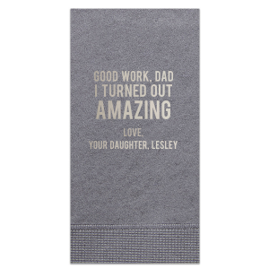 Our personalized Slate Guest Towel with Shiny Sterling Silver Foil are a must-have for your next event—especially for your Father's Day Party!