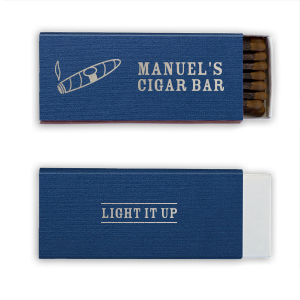 Personalized Linen Navy Blue Cigar Matchbox with Shiny Sterling Silver Foil has a Cigar graphic and is good for use in Father's Day, Retirement, Birthday themed parties and will add that special attention to detail that cannot be overlooked.