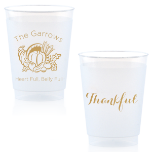 Our custom Gold Ink 16 oz Frost Flex Cup with Gold Ink Print Color has a Thanksgiving graphic and is good for use in Holiday themed parties and will impress guests like no other. Make this party unforgettable.