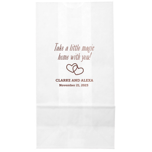 Create wedding details so perfect, they're magical. Customize this goodie bag to send guest home with little party favors or sweet treats. Our Interlocking Hearts graphic will fit any theme. Simply choose your colors and add your names and special date.