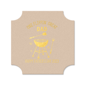 The ever-popular White Round Coaster with Shiny 18 Kt Gold Foil has a Grill graphic and is good for use in Food, Home, Grilling and Father's Day themed parties and will add that special attention to detail that cannot be overlooked.