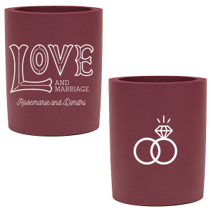 Custom Ivory - Natural Round Can Cooler with Matte Teal/Peacock Ink Cup Ink Colors has a Love 2 graphic and a Wedding Rings 2 graphic and is good for use in Wedding themed parties and can be personalized to match your party's exact theme and tempo.