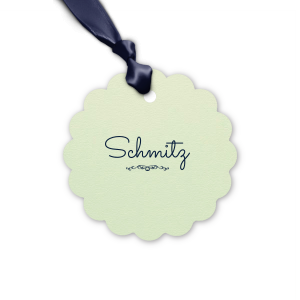 ForYourParty's chic Poptone Mint Round Gift Tag with Matte Navy Foil has a Flourish 1 graphic and will give your party the personalized touch every host desires.