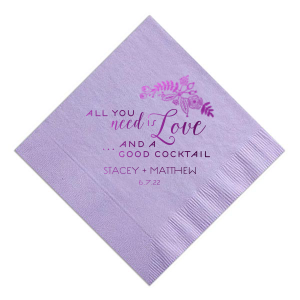 The ever-popular Lavender Cocktail Napkin with Shiny Amethyst Foil Color has a Rustic Floral graphic and is good for use in Wedding themed parties and couldn't be more perfect. It's time to show off your impeccable taste.