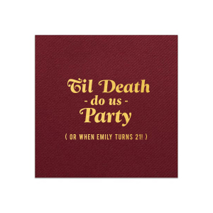 ForYourParty's chic Merlot Cocktail Napkin with Shiny 18 Kt Gold Foil will add that special attention to detail that cannot be overlooked.