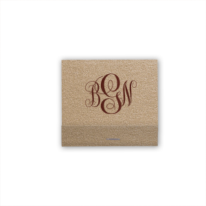 ForYourParty's personalized Champagne Shimmer 30 Strike Matchbook with Shiny Merlot Foil will make your guests swoon. Personalize your party's theme today.