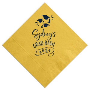 Custom Sunflower Cocktail Napkin with Matte Navy Foil has a Caps Thrown graphic and is good for use in Graduation themed parties and couldn't be more perfect. It's time to show off your impeccable taste.