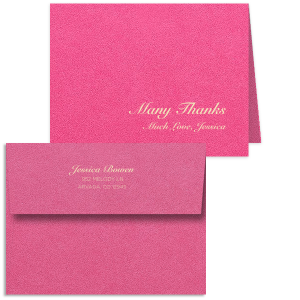 Our custom Poptone Fuschia Classic Note Card with Matte Ivory Foil will give your party the personalized touch every host desires.