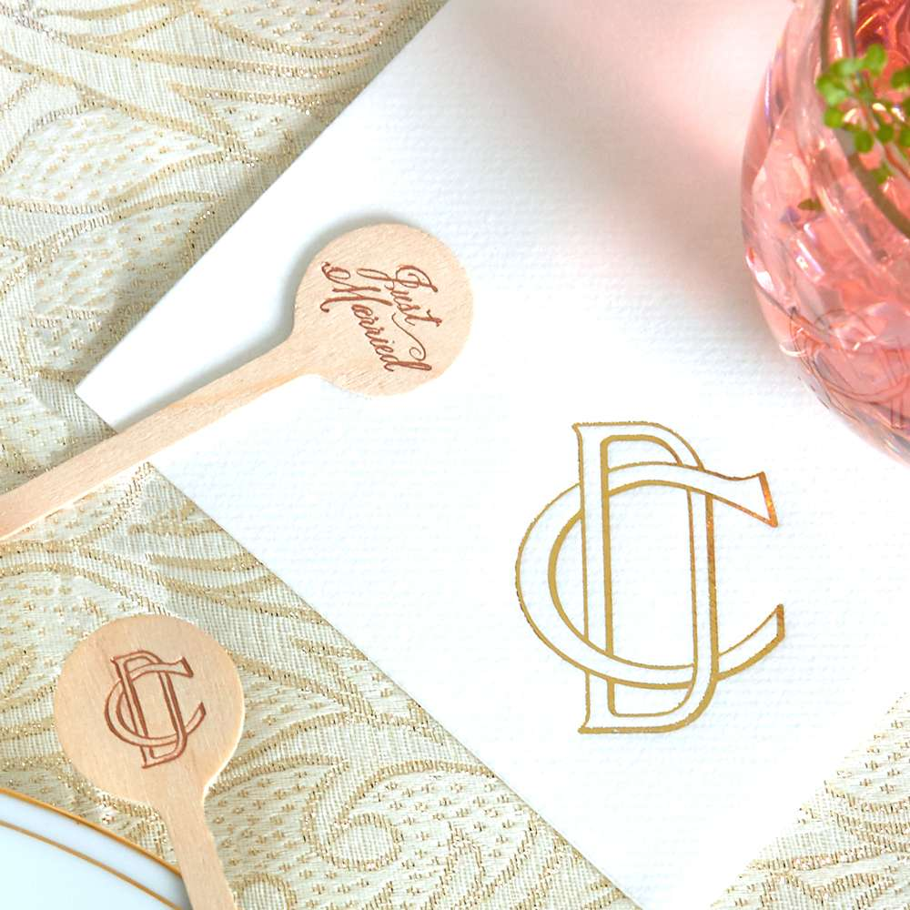 customized 2 initial monogram cocktail napkins