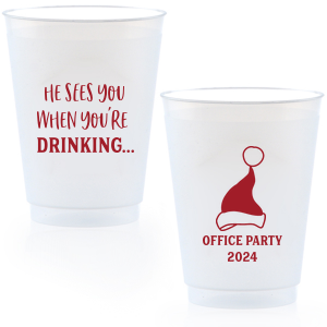 The ever-popular Matte Red Berry Ink 12 oz Frosted Plastic Cup with Matte Red Berry Ink Cup Ink Colors has a Santa Hat graphic and is good for use in Delphine themed parties and will give your party the personalized touch every host desires.