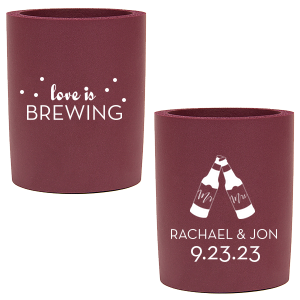 Our beautiful custom Ivory - Natural Round Can Cooler with Matte Teal/Peacock Ink Screen Print has a Mr & Mrs Bottles graphic and is good for use in Wedding themed parties and will impress guests like no other. Make this party unforgettable.