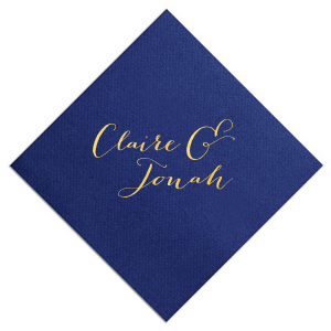 Personalized Navy Cocktail Napkin with Shiny 18 Kt Gold Foil will look fabulous with your unique touch. Your guests will agree!