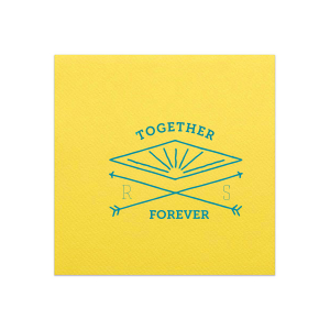 Our custom Lemon Linen Like Dinner Napkin with Satin Teal / Peacock Imprint Foil Color has a Diamond Arrow graphic  and is good for use in Boho Wedding themed parties and will make your guests swoon. Personalize your party's theme today.